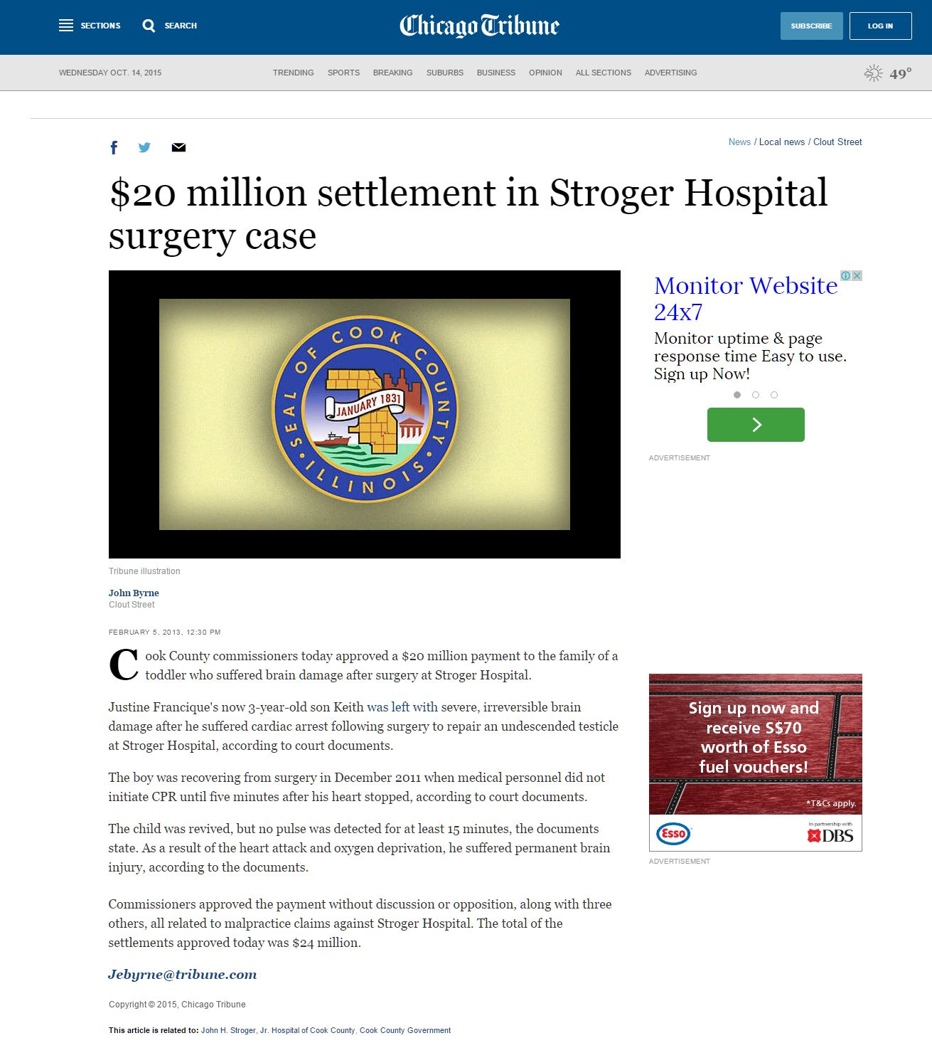 $20 million settlement in Stroger Hospital surgery case